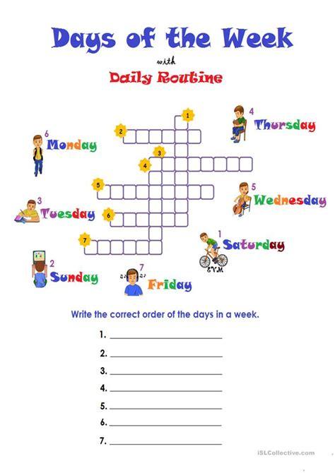 days   week routine worksheet  esl printable