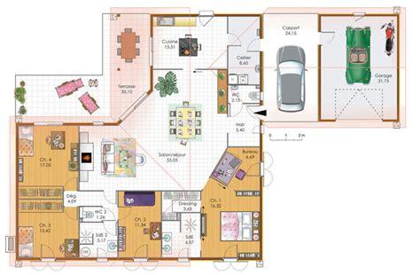 plan maison 4 chambre plain pied grande maison 4 chambres avec terrasse garage et carport