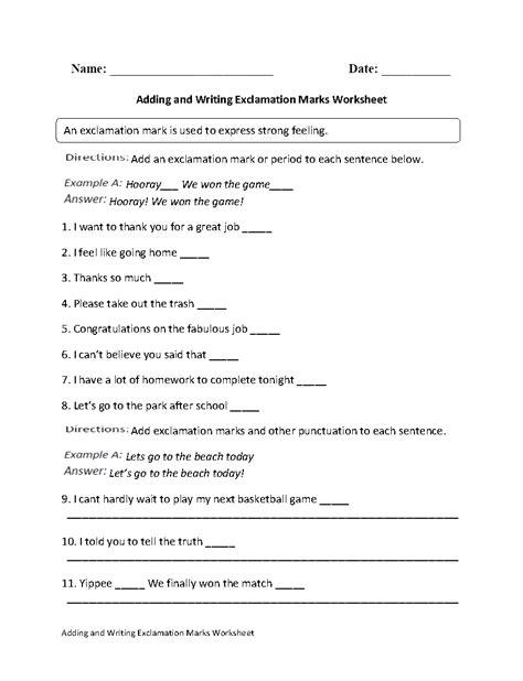 exclamation marks worksheets adding  writing