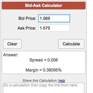 Ask Bid Bid Ask Calculator