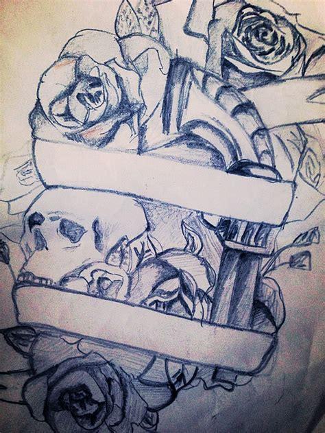 thigh tattoo sketch skull rose gun tattoospiercings pinterest guns skulls