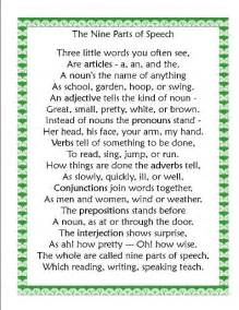 English Parts of Speech Poem