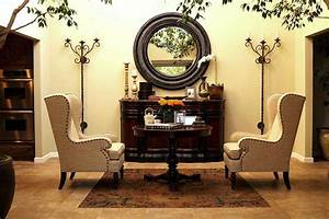 Linen Wingback Chairs - Eclectic - entrance/foyer