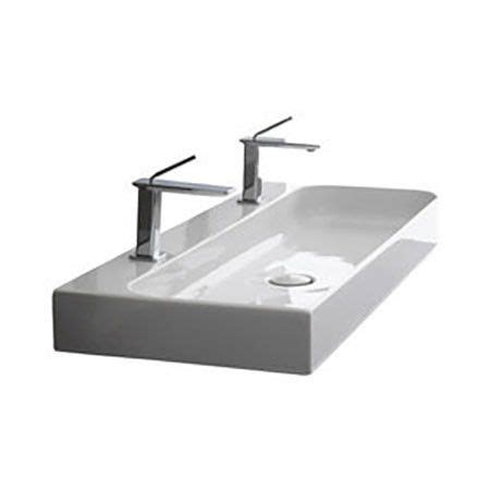wall mounted trough sink ceramic trough bath sink wall mount 48 quot two faucet holes