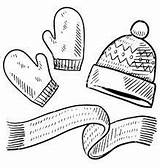 Winter Coloring Pages Drawing Scarf Clothing Sketches Uploaded User Discover sketch template