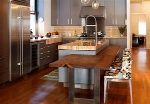 ilot central cuisine avec table integree deco maison moderne With idee deco cuisine avec cuisine Équipée avec table intégrée