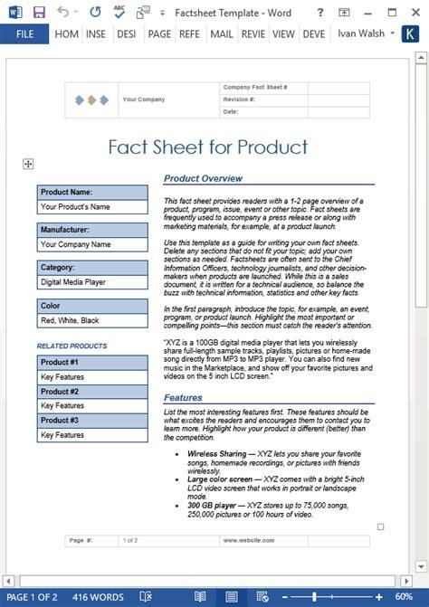 Fact Sheet Template Fact Sheet Template Ms Word