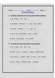 English Worksheets Reordering Sentences