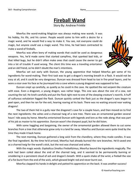 fireball wand fifth grade reading comprehension worksheet have fun teaching