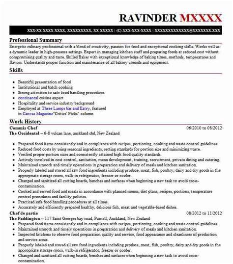Exle Chef Cv by Commis Chef Resume Sle Chef Resumes Livecareer