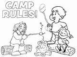 Coloring Sheets Pages Camp Printable Summer Camping Camper Happy Rules Preschool Sheet Getcoloringpages Bring sketch template
