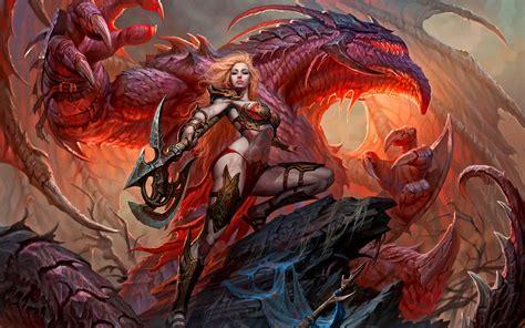 Dark Red Desktop Wallpaper Fantasy Women Dark Magic Dragon Warrior Wallpapers