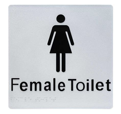 female toilet braille sign silverblack tactile