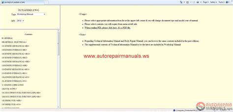 online service manuals 2012 mitsubishi outlander sport parental controls mitsubishi outlander 2012 workshop manual auto repair manual forum heavy equipment forums