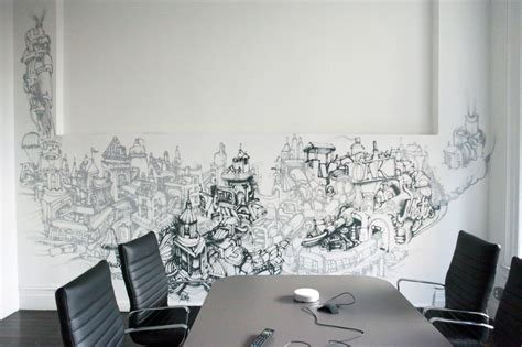 Simple Continuous Grafitti Cool Wall Painting Designs For