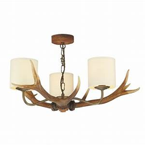 Light stag antler ceiling rustic brown creams