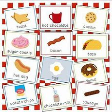 Food And Drink Vocabulary Cards For Preschool And Kindergarten By Julie Locke