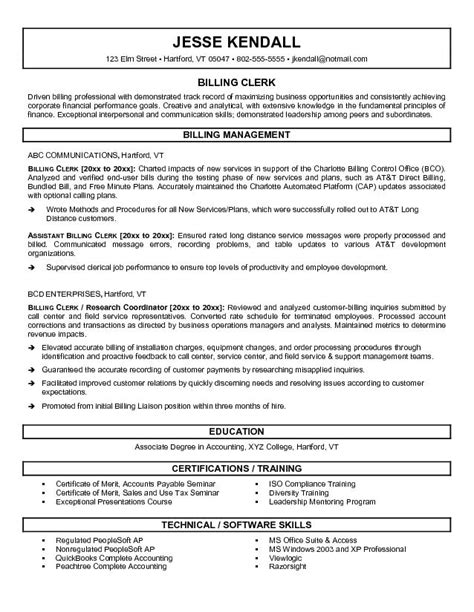 Billing Resumes by Exle Billing Clerk Resume Free Sle