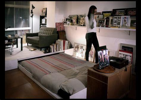 hiding bed in studio house tour yoyogi artist studio with a hidden bed spoon tamago