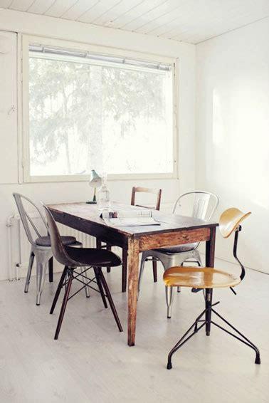 tolix bureau salle a manger style recup table bois chaises coque tolix