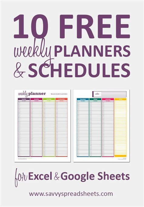 10 Free Weekly Schedule Templates for Excel   Weekly ...