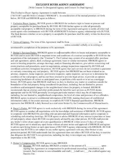 exclusive agency agreement templates   word