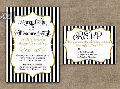 Black & White Striped Gold Wedding Invitations Nifty