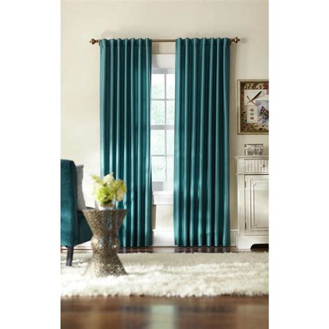 At Home Drapes by Home Decorators Collection Semi Opaque Teal Slub Faux Silk