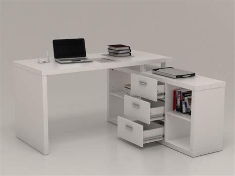 bureau promo bureau d 39 angle avec rangements aldric blanc prix promo