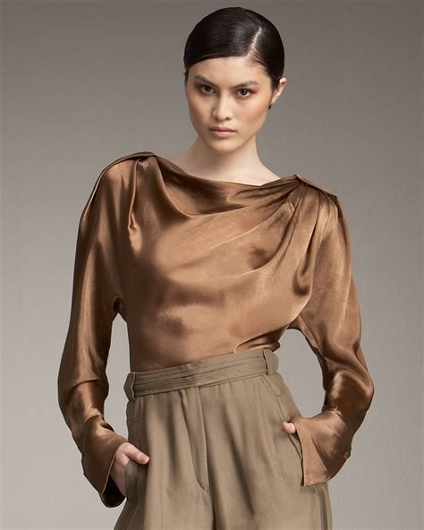 blouse photos lyst donna karan reflection blouse in brown