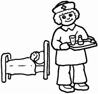 Nurse Coloring Nurses Pages Colouring Doctors Clipart