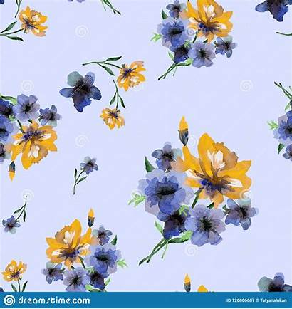 Seamless Watercolor Spring Pattern Flowers Yellow