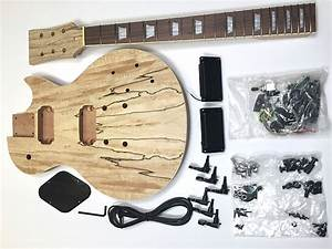 Diy Les Paul Spalted Maple Unfinished Electric Guitar Kit