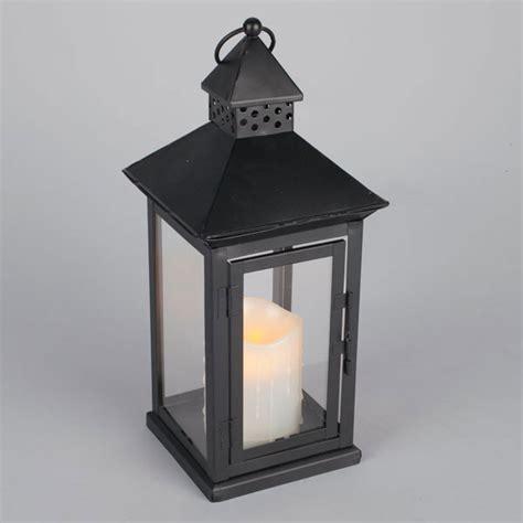 outdoor black metal flameless led lantern timer