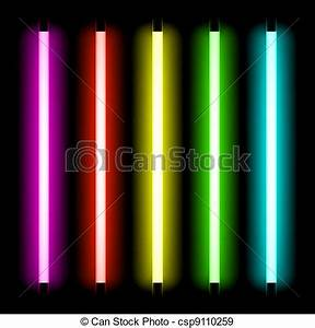 EPS Vectors of Neon tube light Neon tubes light vector