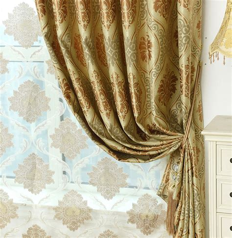 valance bay window gold damask jacquard polyester luxury curtains and drapes