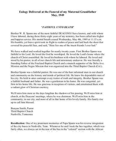 Template Eulogy by Eulogy Template Related Keywords Suggestions Eulogy