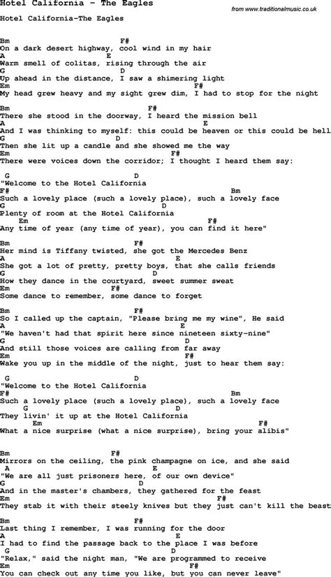 Song Hotel California By The Eagles, With Lyrics For Vocal Performance And Accompaniment Chords