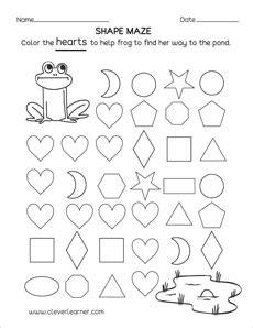 heart shape activity worksheets  preschool children