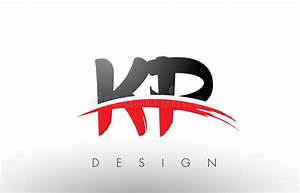 KP K P Brush Logo Letters With Red And Black Swoosh Brush ...