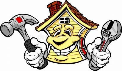 Repair Happy Tools Cartoon Holding Hammer Illustration