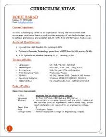 resume format for degree students free download professional curriculum vitae format