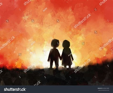 Digital Painting Young Couple Love Holding Stock