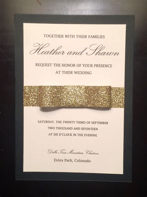 Black Gold and Ivory Glitter Bow Wedding Invitation by