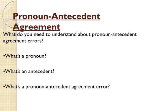 pronoun antecedent agreement powerpoint