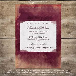 burgundy red wine watercolor wedding invitation vineyard With red cream and gold wedding invitations