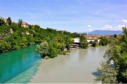 Rhone Rivers Arve River Confluence Geneva Europe