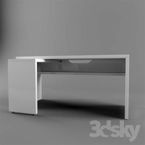 3d models table ikea malm 151x65 with pull out panel