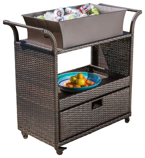 maja multibrown wicker bar cart tropical outdoor