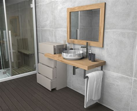 mensola da bagno mensola da bagno con cassettiera e specchio in legno di